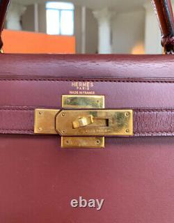 100% Authentic HERMES Kelly 28 Bordeaux Box Calf Bag Vintage