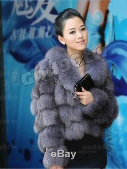 100% Real Genuine Fox Fur Fox Collar Coat Jacket Outwear Vintage Garment New