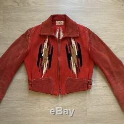 1930s 1940s Vtg Vintage Red Black Chimayo Cuorderoy Womens Jacket Southwestern