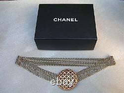 27 Vtg CHANEL Belt GRIPOIX Byzantine Gold Plated Buckle Bronze Chain with Box EXC