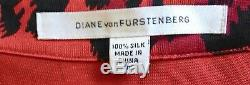 $398 Diane Von Furstenberg Dvf Jeanne Vintage Red Leopard Silk Wrap Dress 6 8