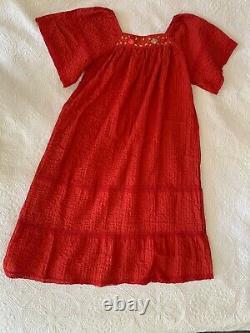 AMAZING 70s Vintage Mexican Embroidered Boho Hippie Kimono Caftan Maxi Dress