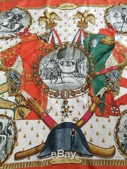 AUTH. Vintage Hermes Jacquard Silk Scarf Napoleon by Phillip Ledoux 90CM