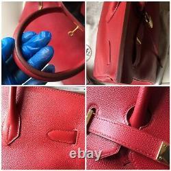 AUTH Vintage Red Hermes Birkin 35 Rouge Vif Veau Epsom Gold Hardware