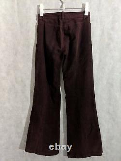 Ann Demeulemeester Archive Vintage Blood Red Moleskin Flare Pants 36 Belgium