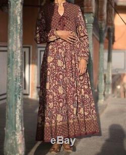 Anokhi Hand Block Print Indian Cotton Maroon Dress
