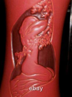 Antique Roseville Nude Lady Bust Silhouette Art Deco Flower Garden Pottery Vase