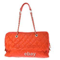 Auth CHANEL CC Matelasse Chain Shoulder Bag Caviar Leather Red Vintage 11JC747