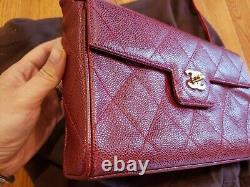 Auth CHANEL Quilted CC Chain Hand Bag Burgund Caviar Skin Leather Vintage