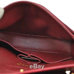 Auth CHANEL Quilted CC Double Flap Chain Shoulder Bag Red Leather VTG AK17020e