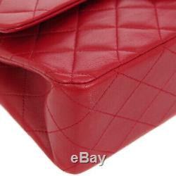 Auth CHANEL Quilted CC Double Flap Chain Shoulder Bag Red Leather VTG AK31932
