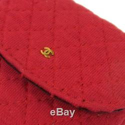 Auth CHANEL Quilted Chain Accessories Pouch Necklace Red Cotton VTG A43823f