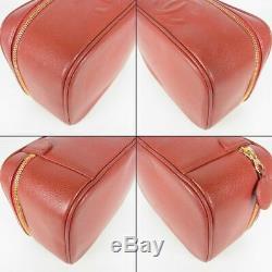 Auth CHANEL Vintage CC Coco Logos Caviar Skin Leather Vanity Hand Bag 13474bkac