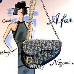 Auth CHRISTIAN DIOR Trotter Saddle Pouch Navy Canvas Vintage From Japan