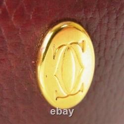 Auth Cartier Vintage Must Logos Leather Chain Pouch Mini Bag 17515bkac