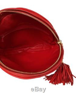 Auth Chanel Round Lipstick Red Vintage Bag 24k Real Gold Hardware