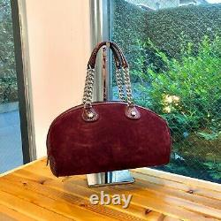 Auth Christian Dior Dice Boston Hand Bag Suede Snake Skin Red Vintage From Japan