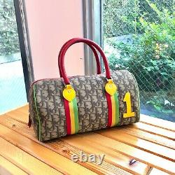 Auth Christian Dior Trotter Boston Hand Bag PVC Rasta Color Vintage From Japan