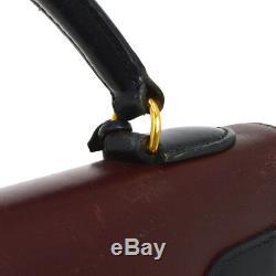 Auth HERMES KELLY 32 SELLIER 2way Hand Bag Tri-color Box Calf Vintage AK25995b
