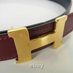 Auth HERMES Vintage Constance Box Calf Leather Belt Sz 76 Bordeaux 18350bkac