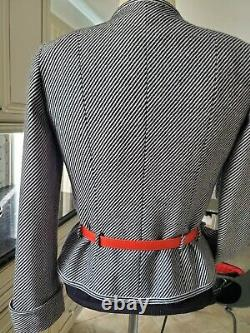 Auth. Very Rare Vintage Chanel Jacket Black/white With Red Leather Logo Belt 38