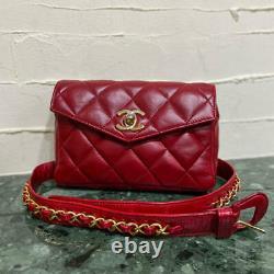 Auth Vintage CHANEL HANDBAG BELT BAG Red Leather Matelasse Gold Chain Strap