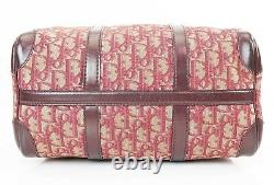 Auth Vintage CHRISTIAN DIOR Red Denim Canvas and Leather Boston Hand Bag #36874