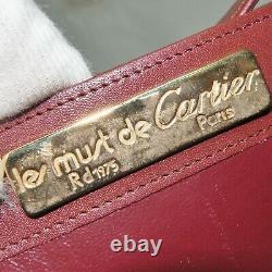 Auth must de Cartier Crossbody Shoulder bag purse Bordeaux Leather Vintage Italy