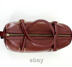 Authentic CARTIER PARIS Vintage Authentic Burgundy Leather Boston Speedy Bag