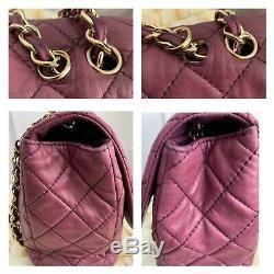 Authentic CHANEL Bag Classic Flap Gold Hardware Vintage Burgundy Purple Lambskin