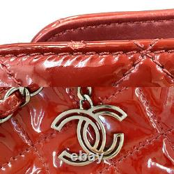 Authentic CHANEL CC Logo Chain Shoulder Bag Patent Leather Red Vintage 35MA232