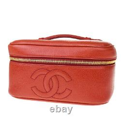 Authentic CHANEL CC Logo Vanity Hand Bag Caviar Leather Red Vintage 77MD239