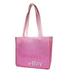 Authentic CHANEL CC Logos Shoulder Tote Bag Rubber Metal Red Vintage 60EY410