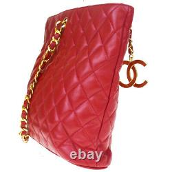 Authentic CHANEL CC Quilted Chain Shoulder Bag Leather Red Italy Vintage 28LA849