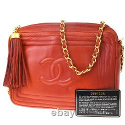 Authentic CHANEL CC fringe Chain Shoulder Bag Leather Red Italy Vintage 670LB103