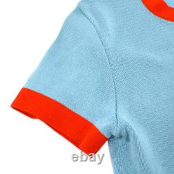 Authentic CHANEL Vintage CC Logos Short Sleeve Tops Light Blue Red #38 AK26073f