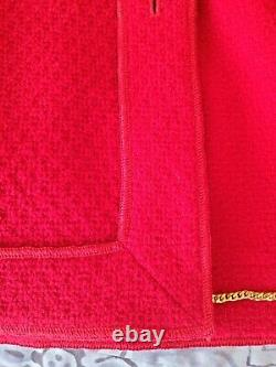 Authentic Chanel Rare Vintage Red Tweed Jacket Gold Tone Logo Buttons Sz36