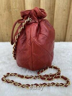 Authentic Chanel Vintage Quilted Mini Drawstring Bag In Red (ghw)