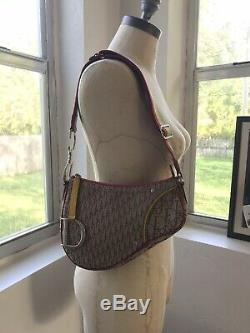 Authentic Christian Dior Trotter Saddle Shoulder Bag Rasta Color Vintage AK27582