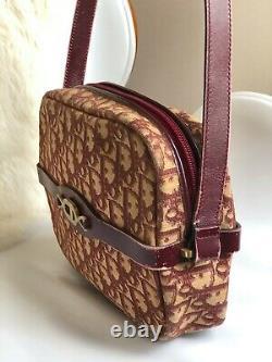 Authentic Christian Dior Vintage 70s Trotter Burgundy Red Monogram Shoulder Bag