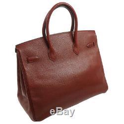 Authentic HERMES BIRKIN 35 Hand Bag Burgundy Chevre Myzore Vintage GHW RK13571f