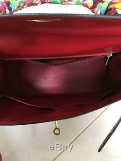 Authentic HERMÈS Kelly 32 Box Calf Vintage Hand Bag R