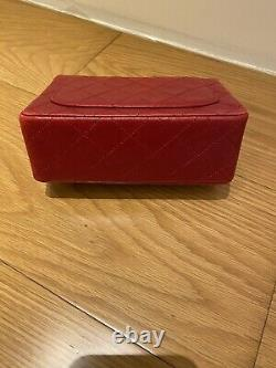 Authentic Vintage Chanel Mini Lambskin Flap Bag In Red Very Rare And Good Cond