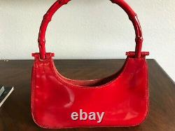 Authentic Vintage Gucci Bamboo Line Mini Patent Red Leather Satchel