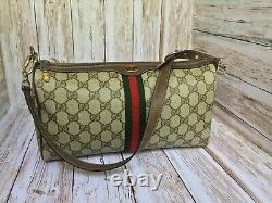 Authentic Vintage Gucci Monogram Canvas Red & Green Stripe Crossbody Handbag