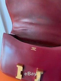 Authentic Vintage HERMES Constance 24cm Box Rouge H Red Bag GHW