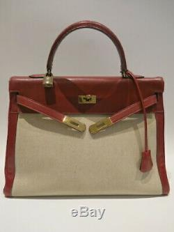 Authentic Vintage HERMES kelly 35 from 1988 in Red and Toile H