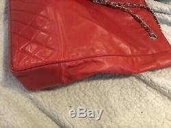 Authentic chanel vintage quilted tote shoulder hand bag purse red