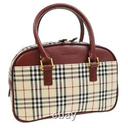 BURBERRY'S Burberry Check Hand Bag Purse Beige Red Canvas Leather Vintage 35235
