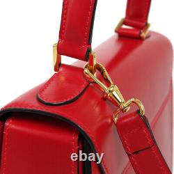 CELINE Logos 2way Hand Bag M92 Purse Red Leather Vintage Italy Authentic 30652